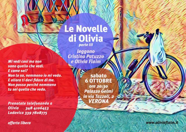 6 Ottobre 2018. Le novelle di Olivia. Storie fantastiche di un quotidiano